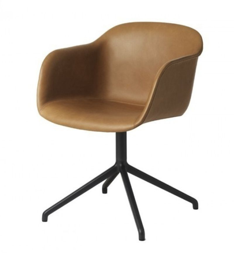 FIBER ARMCHAIR SHELL UPHOLSTERED IN COGNAC SILK LEATHER (WITH AUTO RETURN)