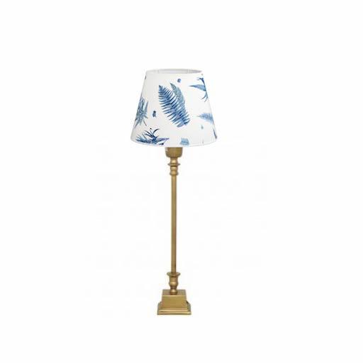 HJERTÉN & HJERTÉN 1065-20 + 1000 TABLE LAMP, COHIBA/STENSÖTA BLÅ/VIT LAMP SHADE, LUCA MÄSSING LAMPFOT BRASS BASE