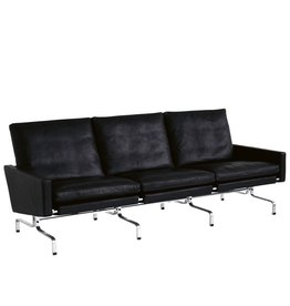 (DISPLAY) PK31/3 3-SEATER SOFA IN BLACK ELEGANCE LEATHER
