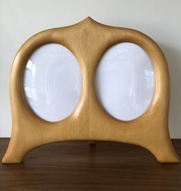 HAND CARVED SWEDISH BIRCH DOUBLE PHOTO FRAME WITH CURVED GLASS