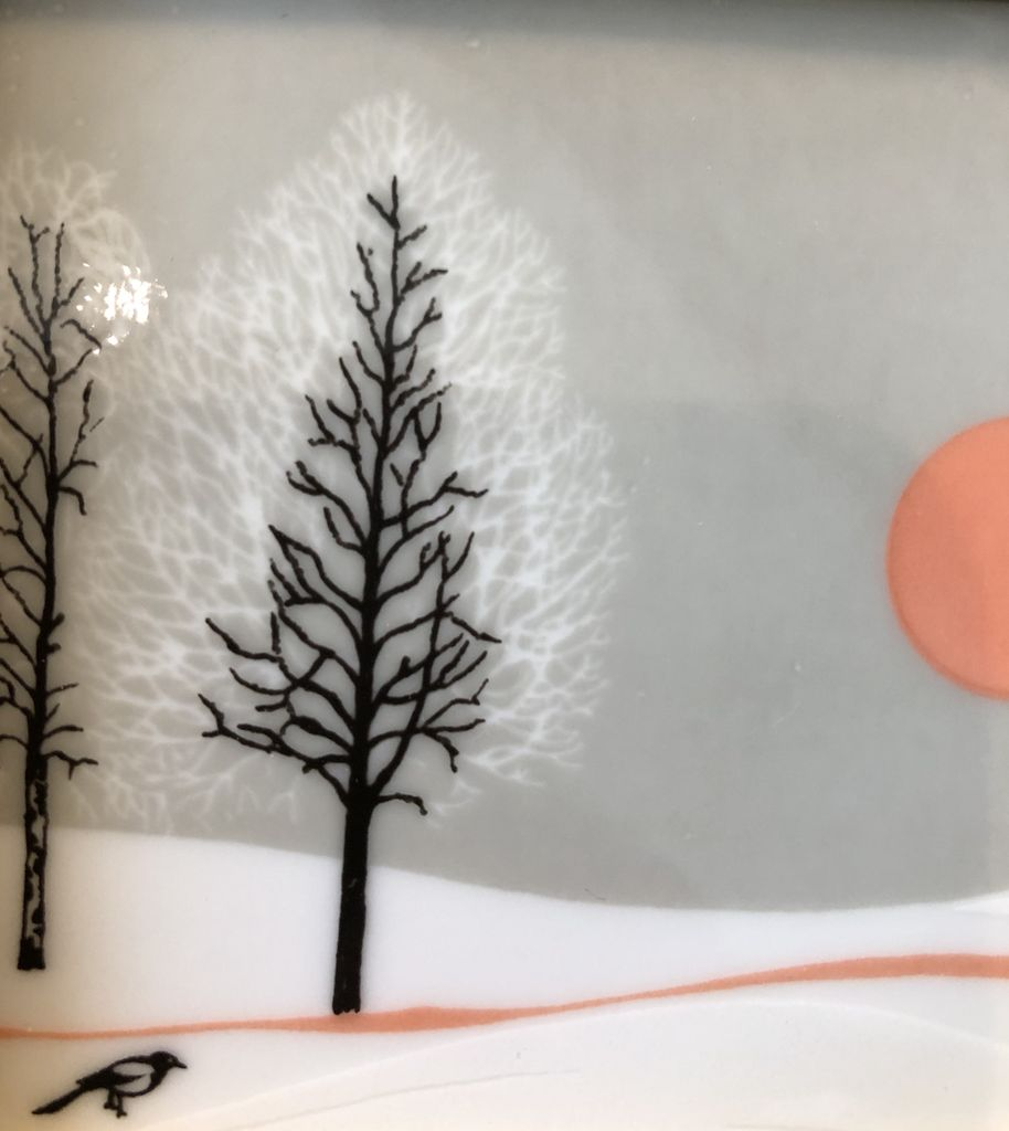 HAND PAINTED FRAMED PORCELAIN TILE OF NORWEGIAN WINTER SUN