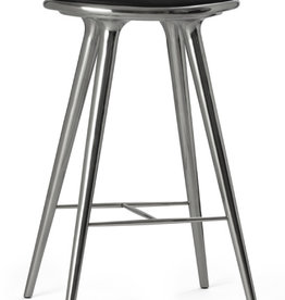 MATER (IMPERFECT) ETHICAL HIGH STOOL, RECYCLED ALUMINIUM, BLACK LEATHER SEAT, H74 CM