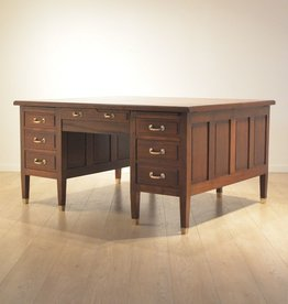 MANKS ANTIQUES 1930's MAHOGANY & OAK INTARSIA DOUBLE SIDED DESK