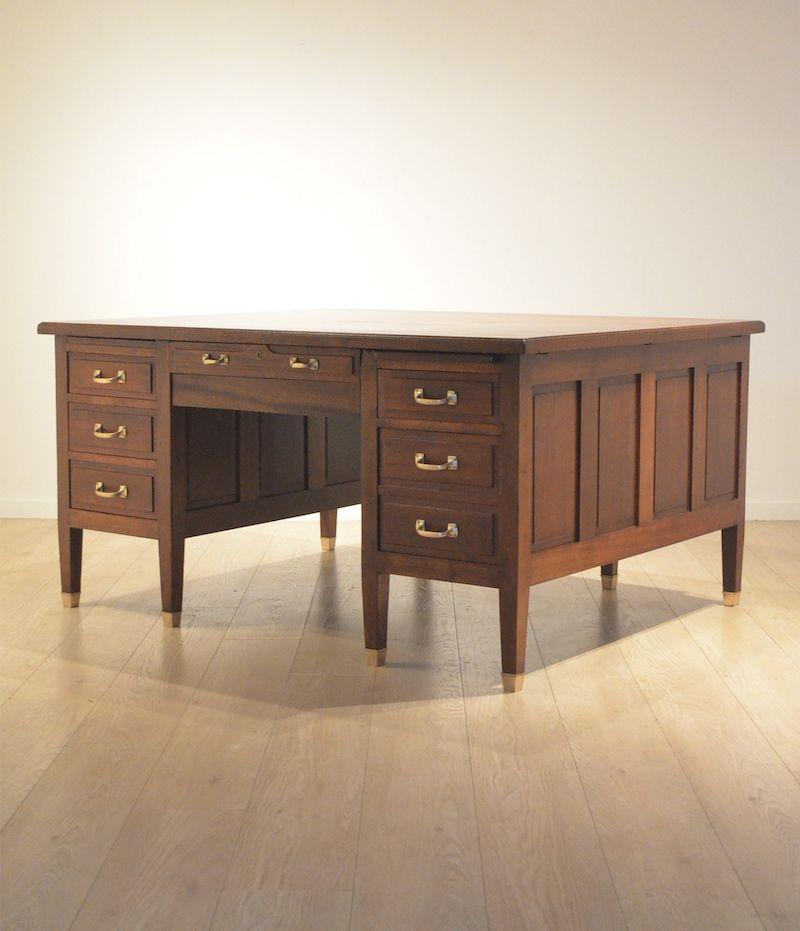Manks Antiques 1930 S Gany Oak Intarsia Double Sided Desk