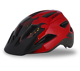 SPECIALIZED® SHUFFLE LED HELMET CE RED/BLACK FLAMES CHILD