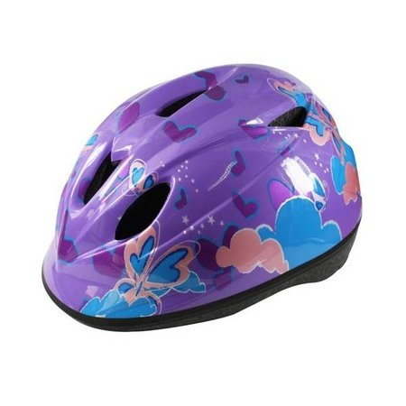 Kinderhelm QT Purple Flowers