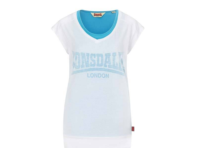 Lonsdale Lonsdale dames top 2 in 1 wit/blauw Tiverton