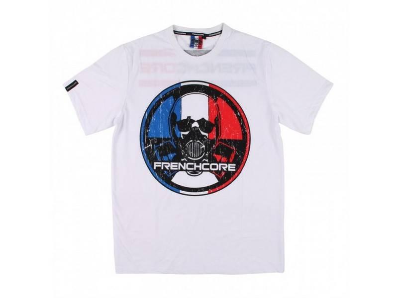 Frenchcore Frenchcore t-shirt wit Round Gasmask