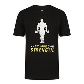 Gold's Gym Slogan T-shirt Stronger Than Yesterday - Black