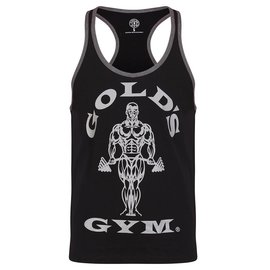 Gold's Gym Muscle Joe Contrast Stringer Vest - Black/Grey Marl