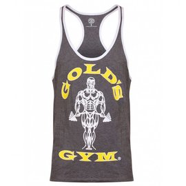 Gold's Gym Muscle Joe Contrast Stringer Vest - Grey Marl/White