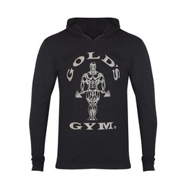 Gold's Gym Muscle Joe Long Sleeve Hooded T-shirt - Black