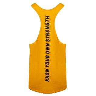 Gold's Gym Slogan Premium Stringer Vest - Gold