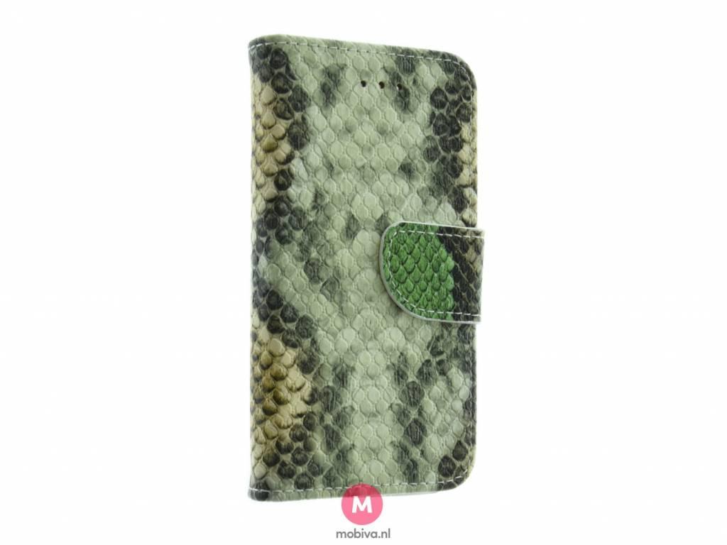 iPhone 5/5S/SE Mobiva Book Case SnakeSkin Groen