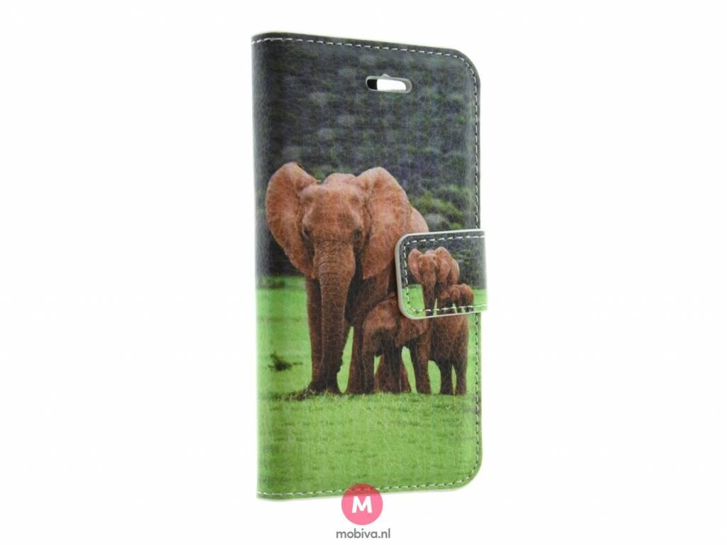 iPhone 5/5S/SE Mobiva Book Case Olifanten
