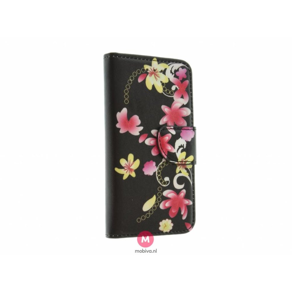 Mobiva iPhone 5/5S/SE Mobiva Book Case Rozen Zwart