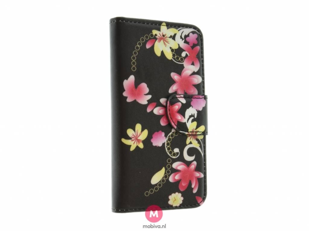 iPhone 5/5S/SE Mobiva Book Case Rozen Zwart