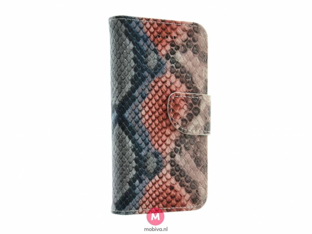 iPhone 5/5S/SE Mobiva Book Case SnakeSkin Orange