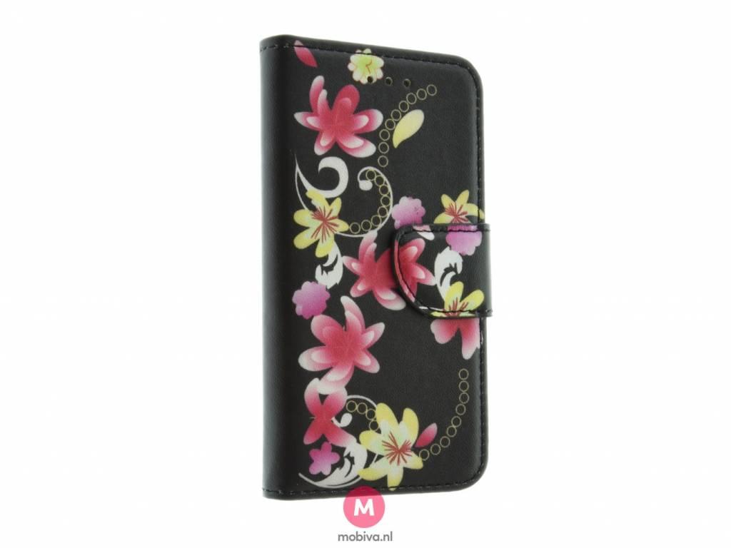 iPhone 5/5S/SE Mobiva Book Case Bloemen Zwart