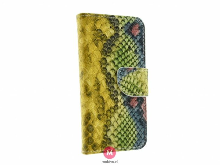 Mobiva iPhone 5/5S/SE Book Case SnakeSkin Geel/Groen