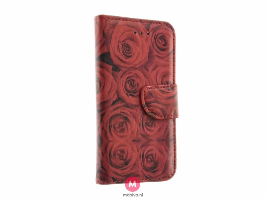 iPhone 5/5S/SE Mobiva Book Case Rozen Rood