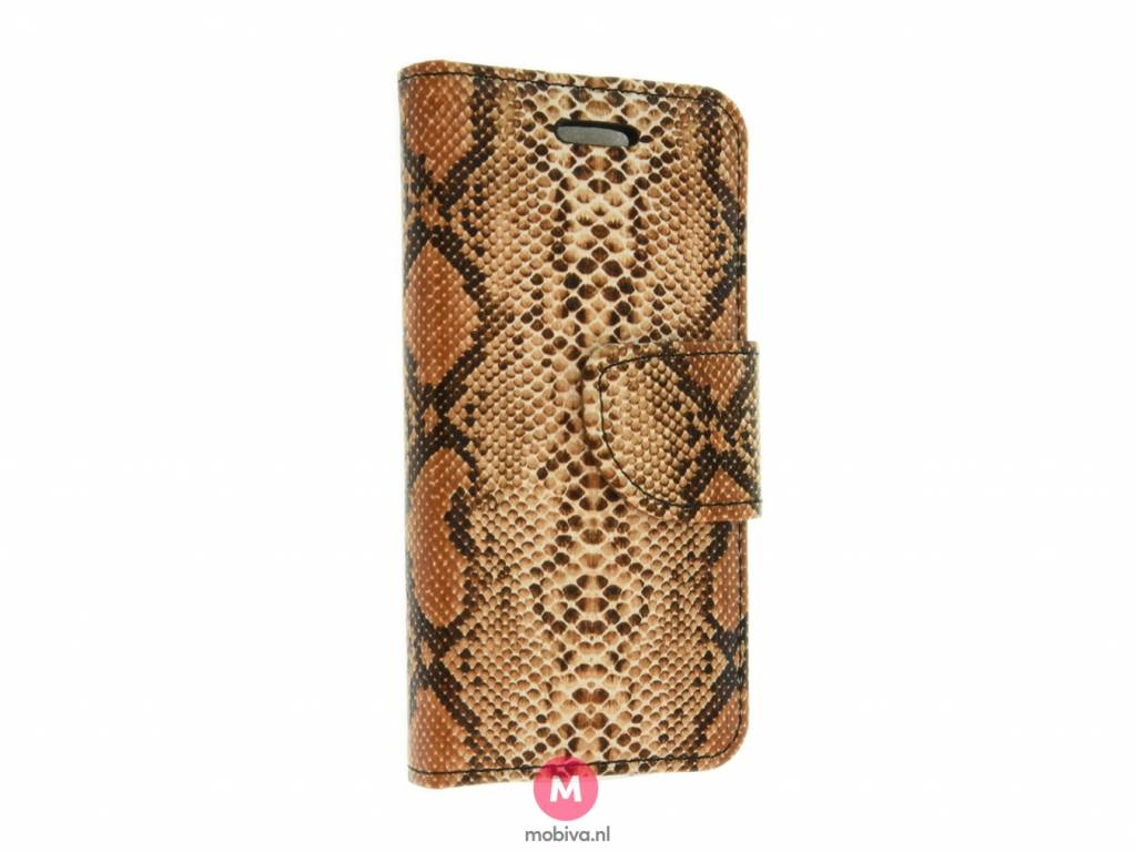 iPhone 5/5S/SE Book Case SnakeSkin Bruin