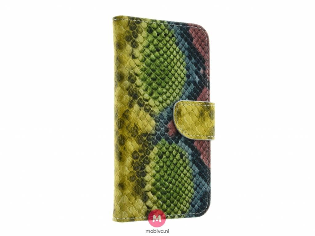 Mobicase iPhone 6/6S Book Case SnakeSkin Geel/Groen