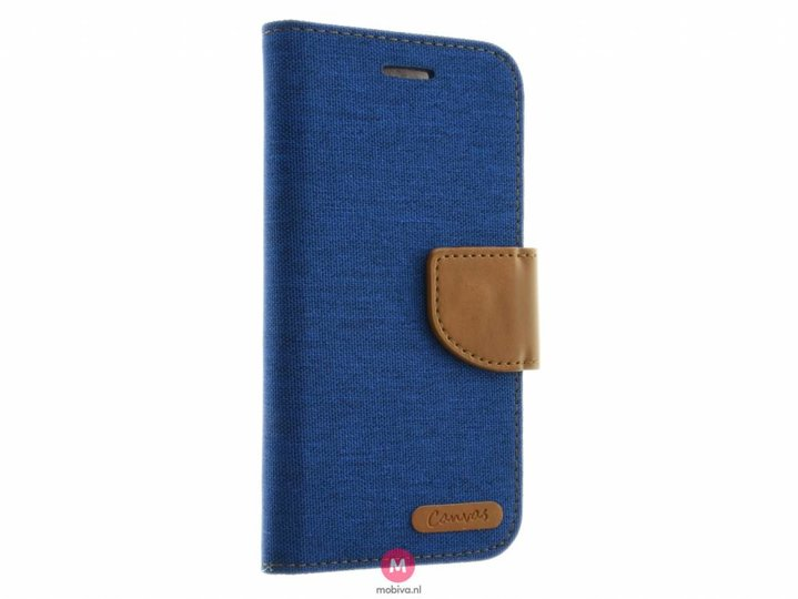 Mobicase iPhone 7 Kabura Canvas Book Blauw