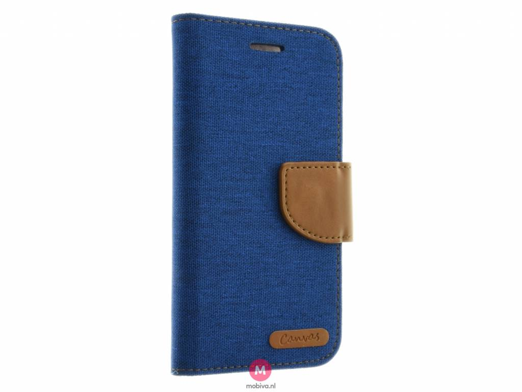 Mobicase iPhone 7 Kabura Canvas Book Blauw