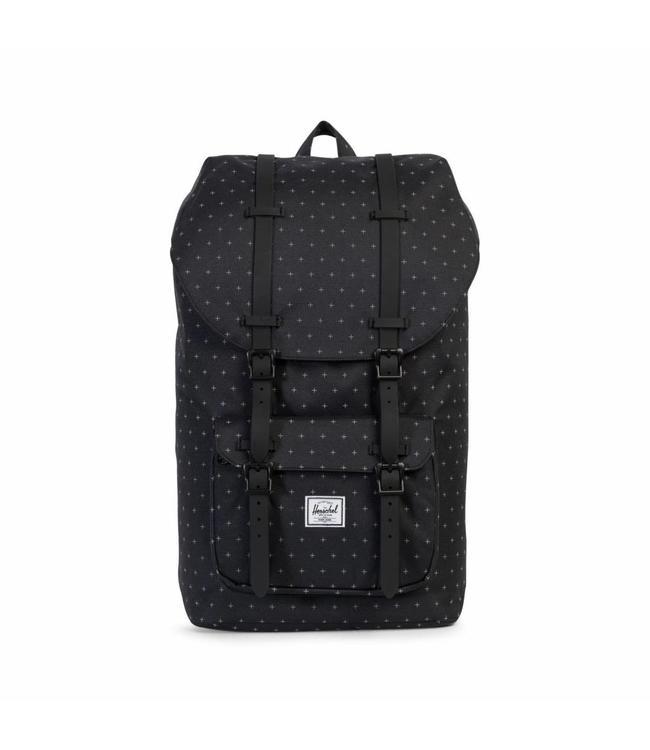 Herschel Little America black gridlock/black rubber-zwarte rugzak met laptopvak