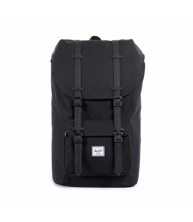 Herschel Little America black/black synthetic leather-Rugzak met laptopvak