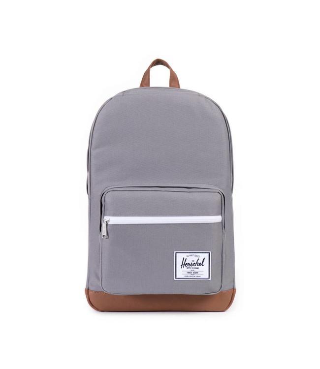 Herschel Pop Quiz grey/tan synthetic leather-rugzak met laptopvak