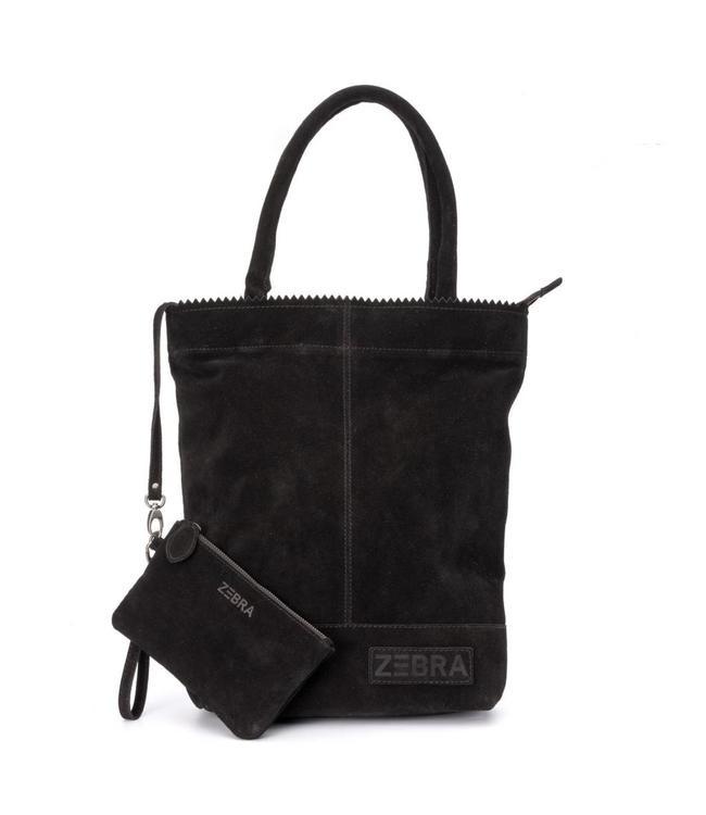 Zebra Trends Natural bag kartel suede black-luxe leren shopper