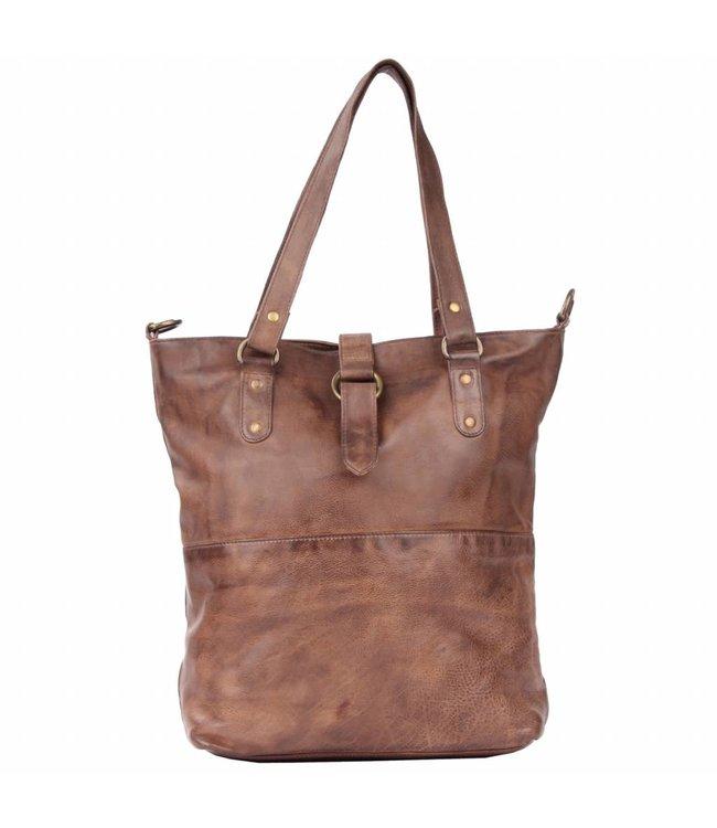 Legend Volano brown-soepel leren dames shopper