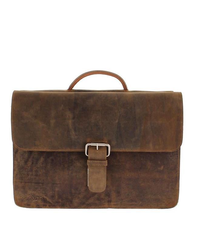 """Plevier 555 17.3"""" laptoptas bruin-ruime 3-vaks business tas"""