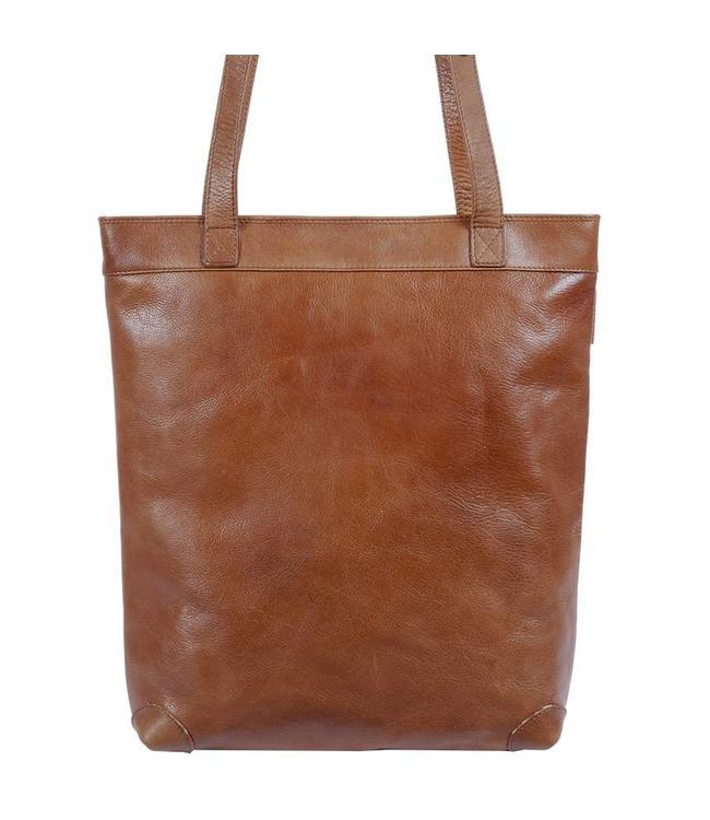 Saccoo Makatan cognac-leren dames shopper