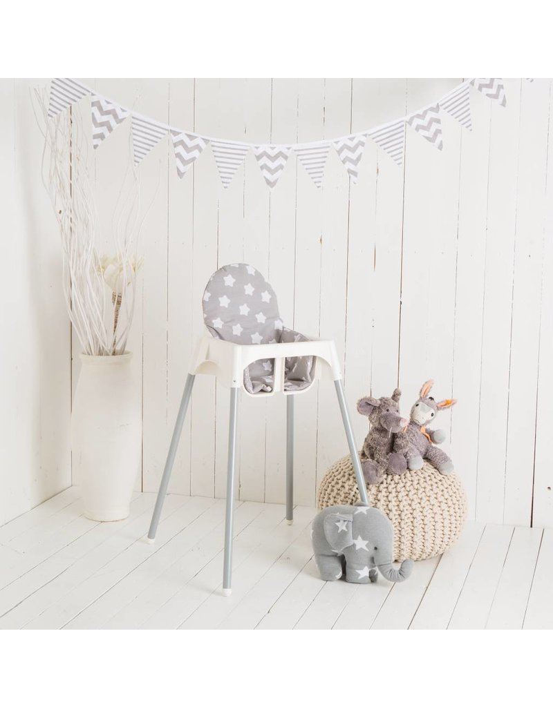 "Highchair Cushion ""stars/ little dots grey"" for IKEA Antilop"