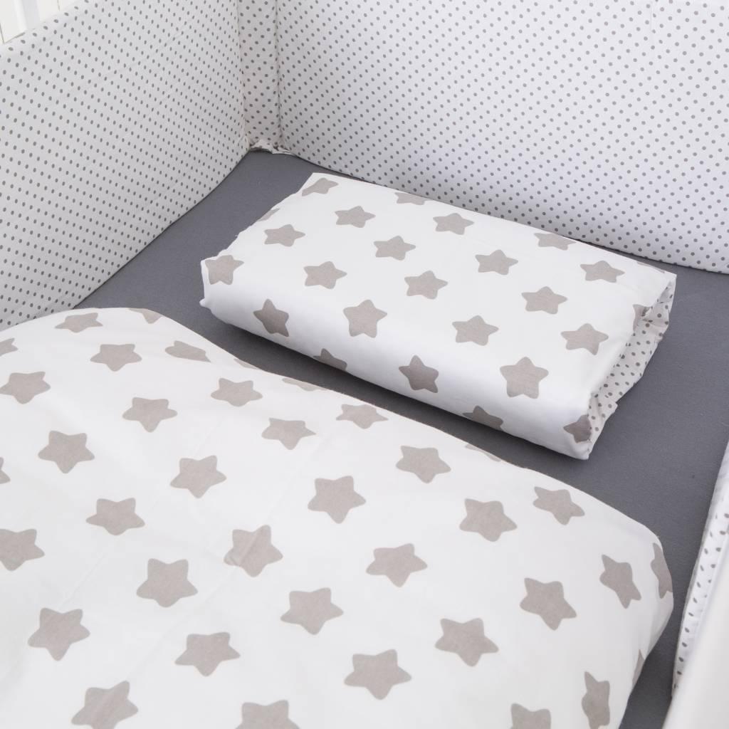 """Puckdaddy Bett-Set """"Punkte/ Sterne weiß"""""""