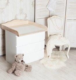 """Puckdaddy Wickelaufsatz """"Wolke Naturholz"""" in weiß für IKEA Malm Kommode"""