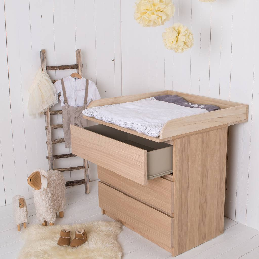 Naturholz! Wickelaufsatz für alle IKEA Malm, Brusali Kommoden ...