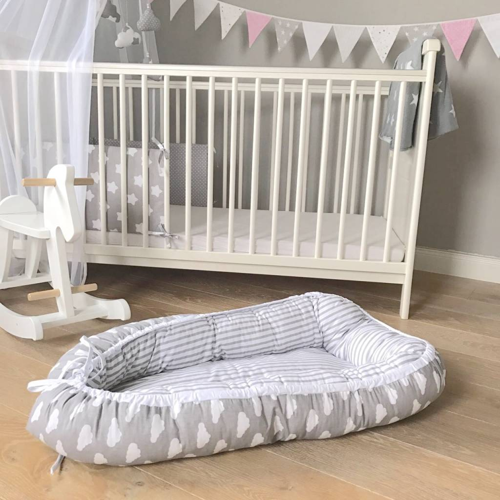 "Baby Cocoon ""Clouds/Stripes grey"""