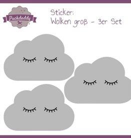 Sticker graue Wolken Augen groß - 3er Set