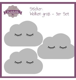 Sticker Grey Clouds Eyes Big - 3 piece set