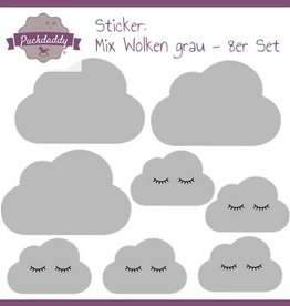 Sticker Mix Wolken grau - 8er Set