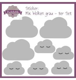 Autocollant Nuages gris mélange- 8x