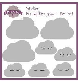 Sticker Mix Wolken grau - 8er Set
