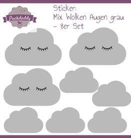 Puckdaddy Sticker Mix Wolken Augen grau - 8er Set