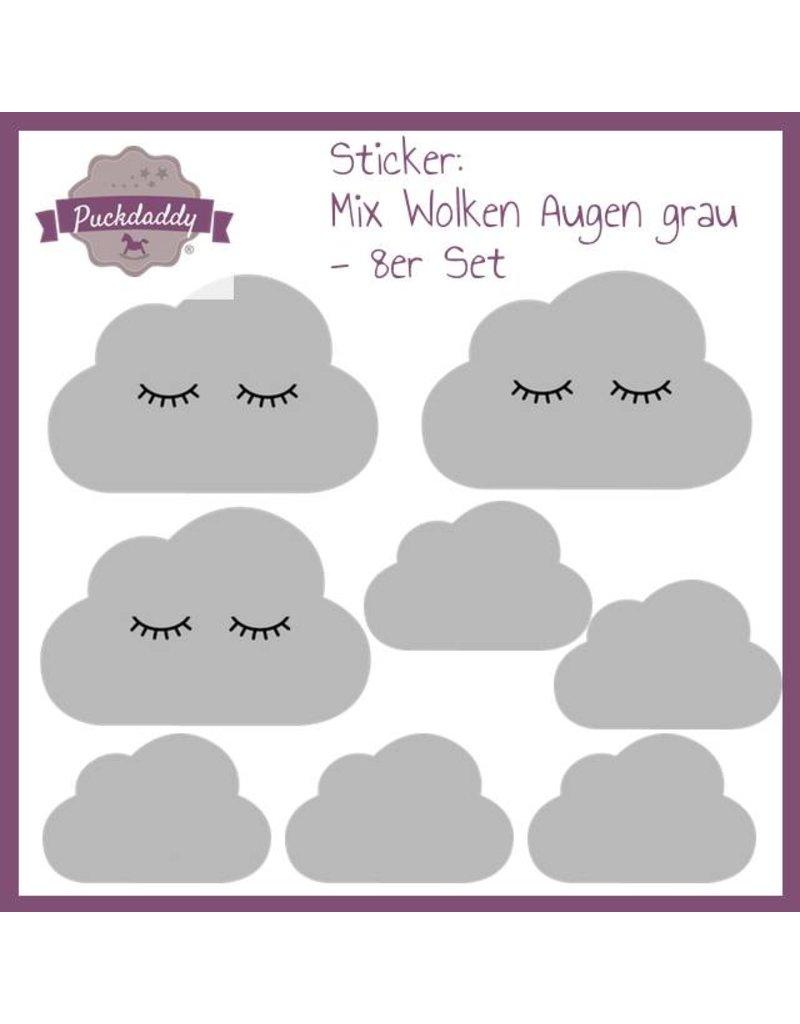 Sticker Mix Wolken Augen grau - 8er Set