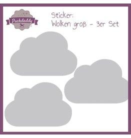 Sticker Grey Clouds Big - 3 piece set