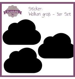 Sticker black clouds big - 3 piece set